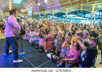 Sydney, NSW, Australia - January 10, 2018: Hundreds of Elvis fans Rock n Rolling at Central Station before boarding the Blue Suede Express Train heading for the annual Elvis Festival at Parkes.