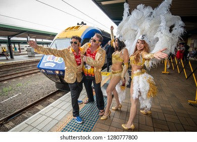 Sydney, NSW, Australia - January 10, 2019: Elvis Fans take a selfie before boarding the Elvis Express Train heading for the annual Elvis Festival at Parkes.