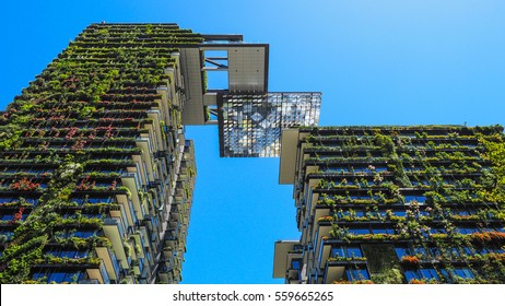 SYDNEY, NSW, AUSTRALIA - January 19, 2017: Green skyscraper building with plants growing on the facade. Ecology and green living in city, urban environment concept, One central park building.