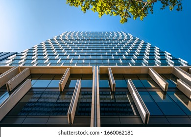 Sydney, NSW, Australia - January 21, 2020: Looking up to the new premium Office building at 60 Martin Place completed in 2019, one of the most innovative and flexible work spaces in Sydney CBD.