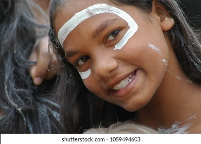 SYDNEY, NSW, AUSTRALIA - JANUARY 26, 2009: A young indigenous dancer meets the press after the Woggan-ma-gule morning ceremony at Farm Cove on Australia Day in Sydney January 26, 2009.