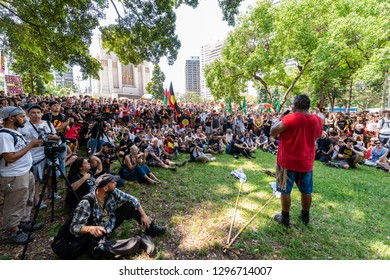 Sydney, NSW, AUSTRALIA - January 26, 2019: Thousands of aboriginal protesters and supporters assembled in Hyde Park Sydney asking the government to change the controversial date of Australia Day.