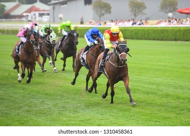 Sydney, NSW, Australia - January 26, 2019: Jockey Hugh Bowman (right) rides New Universe to victory in race 9, the Rise Up At The Championships Handicap, at the Royal Randwick Racecourse.