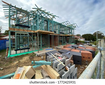 Sydney, NSW / Australia - July 08 2020: Residential building construction site