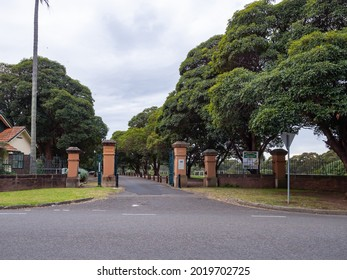 Sydney NSW Australia - July 14th 2021 -      Yaralla Estate Entrance on a Cloudy Winter Afternoon