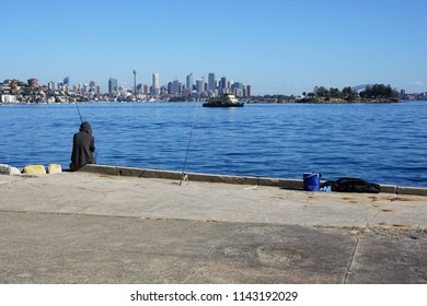 Sydney, NSW, Australia, July 25, 2018.  Prime Spot for Fishing with a View of Sydney's Skyline