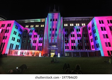 SYDNEY, NSW, AUSTRALIA - JUNE 2, 2014; Museum of Contemporary Art comes alive with moving imagery and music  during Vivid Sydney festival event for locals and tourists to enjoy.