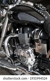 SYDNEY, NSW AUSTRALIA – MARCH 2021: Close up of motorbike engine