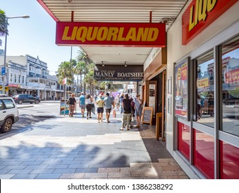 Sydney NSW Australia March 28th 2019 - Liquorland Boatshed and Sushi Manly in a Sunny Day with Blue Sky