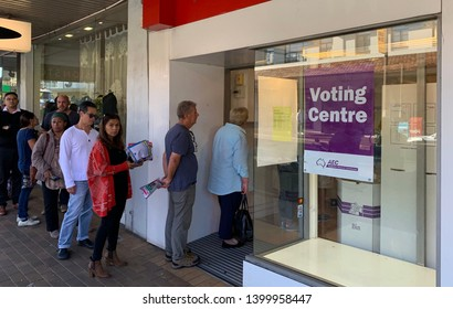 SYDNEY, NSW, AUSTRALIA - MAY 17 2019. VOTERS OUT IN SYDNEY FOR 2019 USTRALIAN FEDERAL ELECTION
