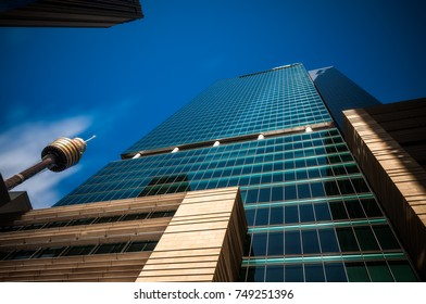 SYDNEY, NSW, AUSTRALIA - November 2, 2017: Looking up perspective of the new monumental glass-walled ANZ Tower, also called Liberty Place and the Sydney Tower Eye, iconic landmark in Sydney CBD.