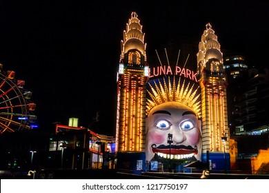 Sydney, NSW, Australia - November 2012 -  Luna Park in Sydney. It is an amusement park located at Milsons Point in Sydney, Australia.