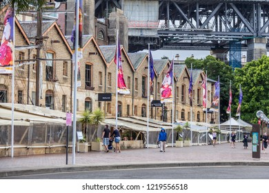 Sydney, NSW, Australia - November 2012 -  Old Warehouses at Campbell's Cove Jetty in Sydney
