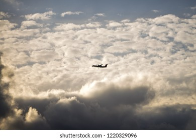 Sydney NSW Australia, October 26 2018, Qantas Plane flys in front of clouds.