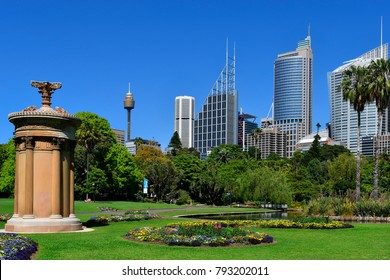 SYDNEY, NSW, AUSTRALIA - OCTOBER  28: Choragic monument of Lysicrates in public Royal Botanic Garden in front of the skyline with office buildings and Centrepoint tower, October 28, Sydney, Australia