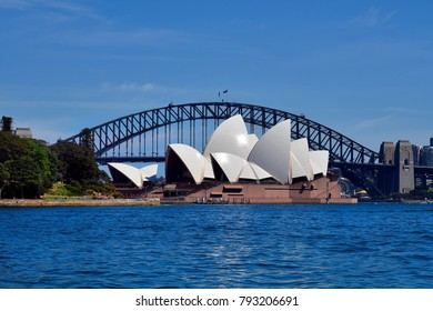 SYDNEY, NSW, AUSTRALIA - OCTOBER  28: Sydney Opera and Harbour Bridge, impressive landmarks and preferred tourist attractions in the capital of New South Wales, October 28, 2017 in Sydney, Australia