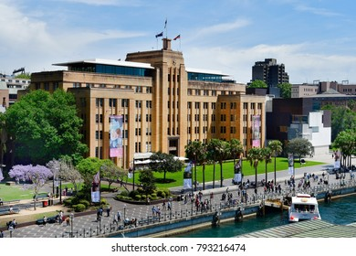 SYDNEY, NSW, AUSTRALIA - OCTOBER  28: Unidentified people and museum of Contemporary Art on Circular Quay, on October 28, 2017 in Sydney, Australia