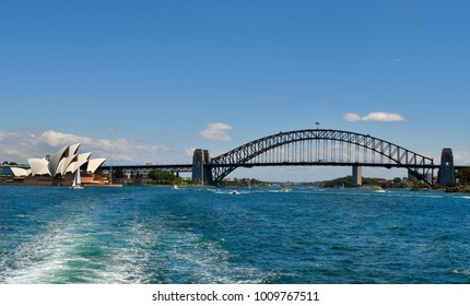 SYDNEY, NSW, AUSTRALIA - OCTOBER  29: Sydney opera and Harbour bridge, landmarks in the capital of New South Wales, on October 29, 2017