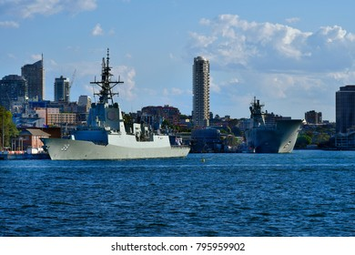 SYDNEY, NSW, AUSTRALIA - OCTOBER 29: Warships HMAS Hobart and HMAS Canberra in Garden Island Navy Base in the capital of New South Wales, on October 29, 2017 in Sydney, Australia