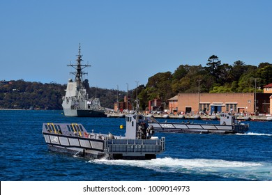 SYDNEY, NSW, AUSTRALIA - OCTOBER 31: HMAS Hobart in Wooloomooloo wharf and exercise with landing crafts of the Royal Australian navy, on October 31, 2017 in Sydney, Australia