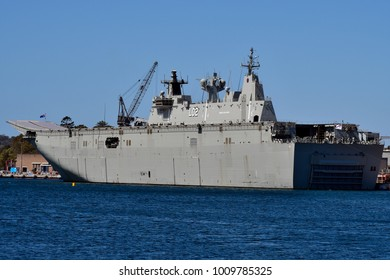 SYDNEY, NSW, AUSTRALIA - OCTOBER 31: HMAS Canberra in Wooloomooloo wharf, a helicopter carrier of the Royal Australian navy, on October 31, 2017 in Sydney, Australia