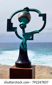 SYDNEY, NSW, AUSTRALIA - OCTOBER 31: Sculpture by the sea - an outdoor exhibtion along the coast at Bondi, artwork Song of the Aisors from artist Jock Clutterbuck, October 31, 2017  Sydney, Australia