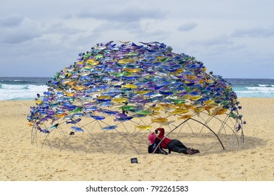 SYDNEY, NSW, AUSTRALIA - OCTOBER 31: Sculpture by the sea - an outdoor exhibition along the coast at Bondi, artwork Swirling Surround from Jane Cowle on October 31, 2017 in Sydney, Australia