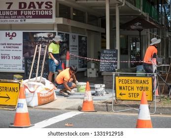 Sydney NSW Australia Road Work in Narrabeen Feb 28th 2019 - Road work in Narrabeen Pittwater Rd
