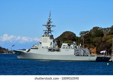 SYDNEY, NSW, AUSTRALIA: Warship HMAS Hobart of the Royal Australian navy in Wooloomooloo wharf, on October 31, 2017 in Sydney, Australia