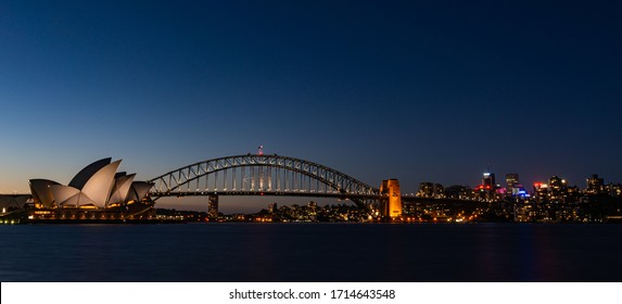 Sydney, NSW/Australia - 02/02/2014: Wonderful view of Sydney Opera House and Harbour Bridge in the night