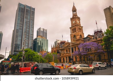 Sydney, NSW/Australia - 30 October 2017: A view at Sydney Town Hall from Park st and George st intersection