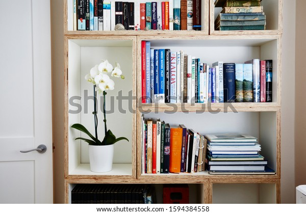 Sydney, NSW/Australia-July 14 2017: interior photography, detail of book shelf in a home with books and a potted orchid