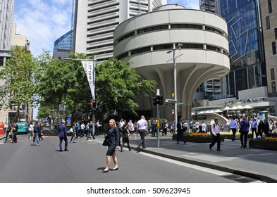 SYDNEY - OCT 18 2016: Traffic on Martin Place, a pedestrian mall in the central business district of Sydney, New South Wales, Australia.