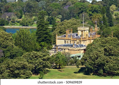 SYDNEY - OCT 18 2016:Aerial view of The Government House in Sydney New South Wales, Australia. It is the official residence of the Governor of New South Wales