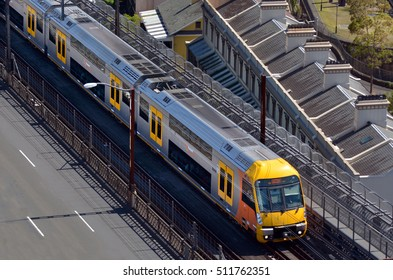 SYDNEY - OCT 18 2016:Aerial view of Sydney Trains. Sydney Trains is the suburban passenger rail network serving the city of Sydney, New South Wales, Australia.