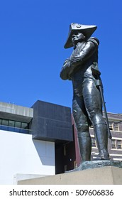 SYDNEY - OCT 18 2016:Captain Bligh Statue at the rocks in Sydney Australia.Best remembered for the historic mutiny which occurred during his command of HMS Bounty in 1789