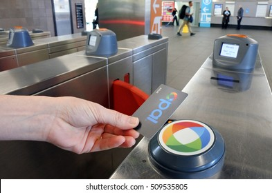 SYDNEY - OCT 18 2016:Opal Card User. Opal is a contactless smartcard ticketing system for public transport services in the greater Sydney area of New South Wales, Australia.