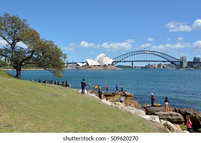 SYDNEY - OCT 19 2016:Tourist photographing themselves against Sydney skyline in Sydney New South Wales, Australia