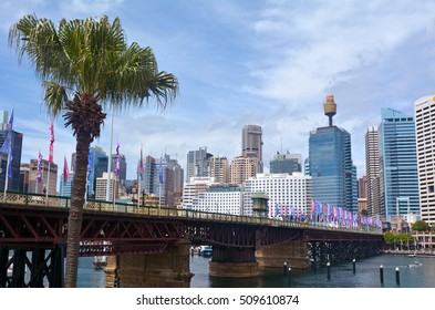 SYDNEY - OCT 20 2016: The Pyrmont Bridge at sunset in Darling Harbour, a recreational and pedestrian precinct western to Sydney central business district in New South Wales, Australia.