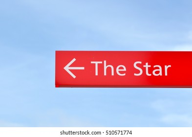 SYDNEY - OCT 20 2016:A signpost with arrow show the way to The Star Sydney the second largest casino in Australia, hotel and entertainment venue, located in Darling Harbour  Sydney, Australia.