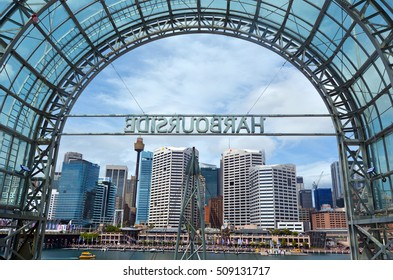SYDNEY - OCT 20 2016:Cityscape of Darling Harbour, a recreational and pedestrian precinct situated on western outskirts of the Sydney central business district in New South Wales, Australia.