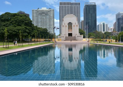 SYDNEY - OCT 20 2016:Reflection of ANZAC War Memorial in Hyde Park Sydney New South Wales Australia. It was built as a memorial to the Australian Imperial Force of World War I