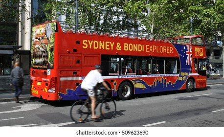 SYDNEY - OCT 20 2016:Sydney hop-on hop-off bus. The city received 7 million domestic visitors and 8.2 million international visitors in 2010, making it the 42nd most visited city in the world.