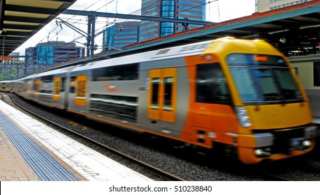 SYDNEY - OCT 20 2016:Sydney Trains engine at Central Railway Station, Sydney. Sydney Trains is the suburban passenger rail network serving the city of Sydney, New South Wales, Australia.