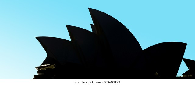 SYDNEY OCT 21 2016: Silhouette of Sydney Opera House in Sydney New South Wales, Australia. It is one of the 20th century's most famous and distinctive buildings in the world.