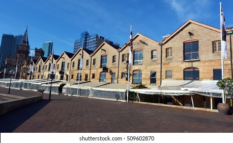 SYDNEY - OCT 21 2016:Campbell's Stores at the Rocks in Sydney, Australia.Built in 1839, Campbell's Stores are the only surviving warehouses of their type remaining on the foreshores of Sydney Cove.