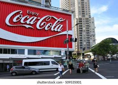 SYDNEY - OCT 21 2016:Coca-Cola Billboard above Kings Cross Station in Sydney, Australia.it is considered to be the premier billboard in Sydney and is the largest billboard in the Southern Hemisphere.