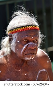 SYDNEY - OCT 23 2016:An old Aboriginal Indigenous Australian man portrait.In 2012 the estimated life expectancy at birth for Aboriginal and Torres Strait Islander males was 69.1 years.