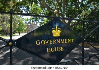 SYDNEY - OCT 23 2016:The Government House in Sydney New South Wales, Australia. Constructed between 1837 and 1843, the property has been the official residence of the Governor of New South Wales