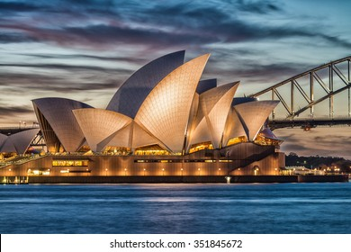 SYDNEY - OCTOBER 12, 2015: The Iconic Sydney Opera House is a multi-venue performing arts centre also containing bars and outdoor restaurants.
